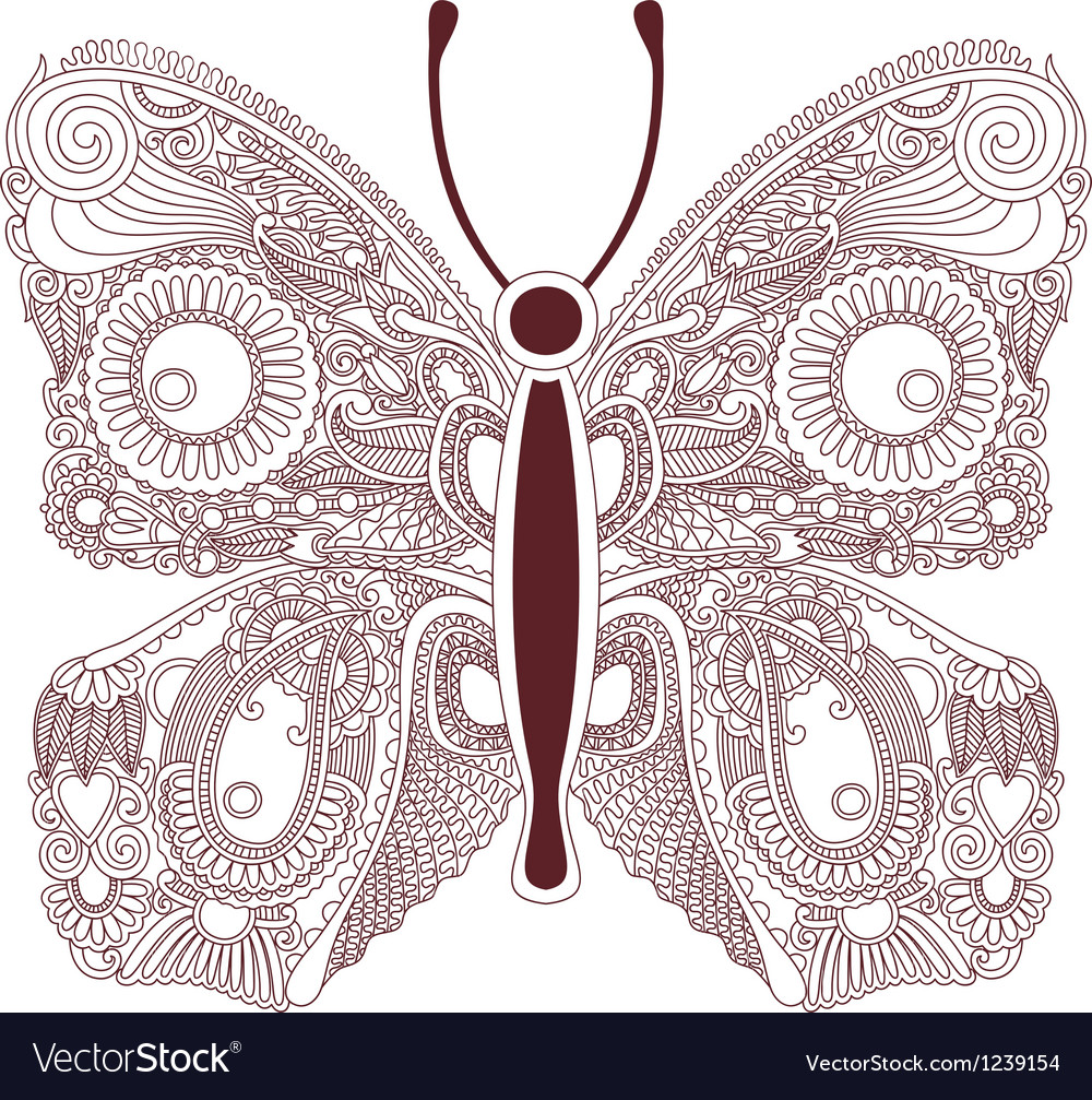 Hand draw ornate line artwork of butterfly vector | Price: 1 Credit (USD $1)