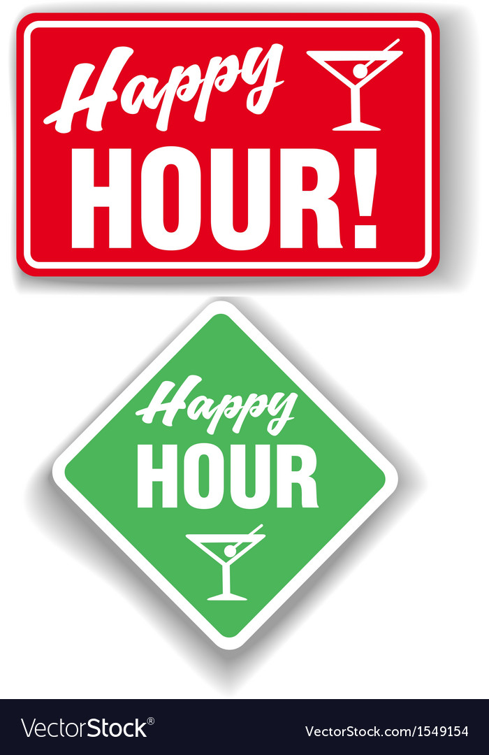 Happy hour cocktail bar signs vector | Price: 1 Credit (USD $1)