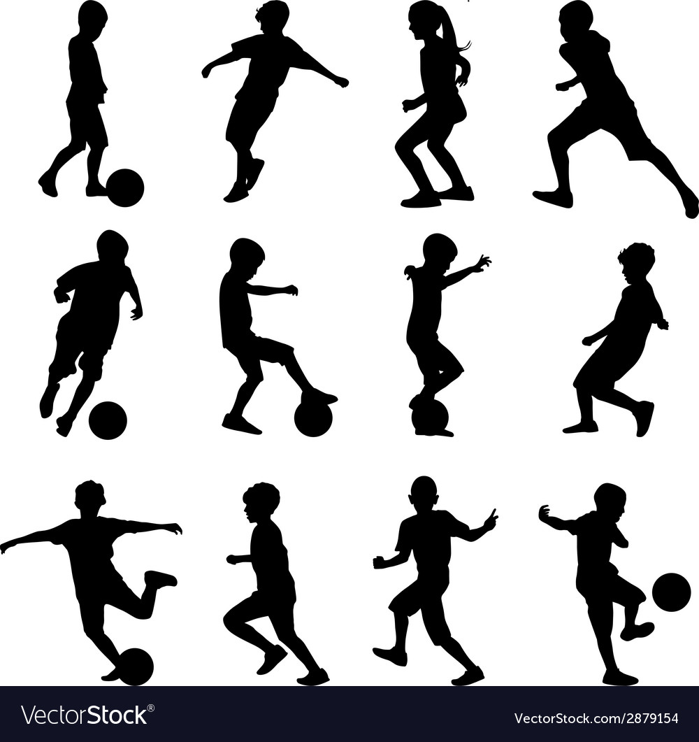 Kid playing soccer vector | Price: 1 Credit (USD $1)