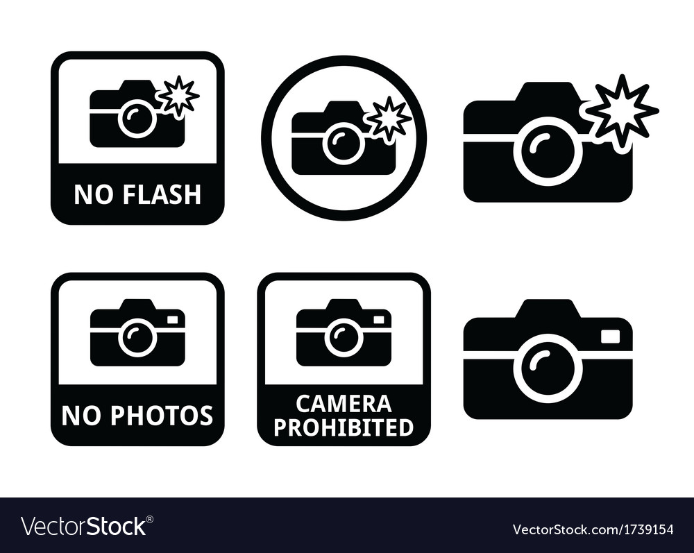 No photos no cameras no flash icons vector | Price: 1 Credit (USD $1)
