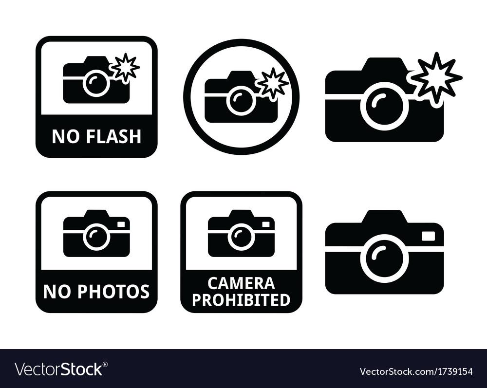 No photos no cameras no flash icons vector | Price: 1 Credit (USD $1)