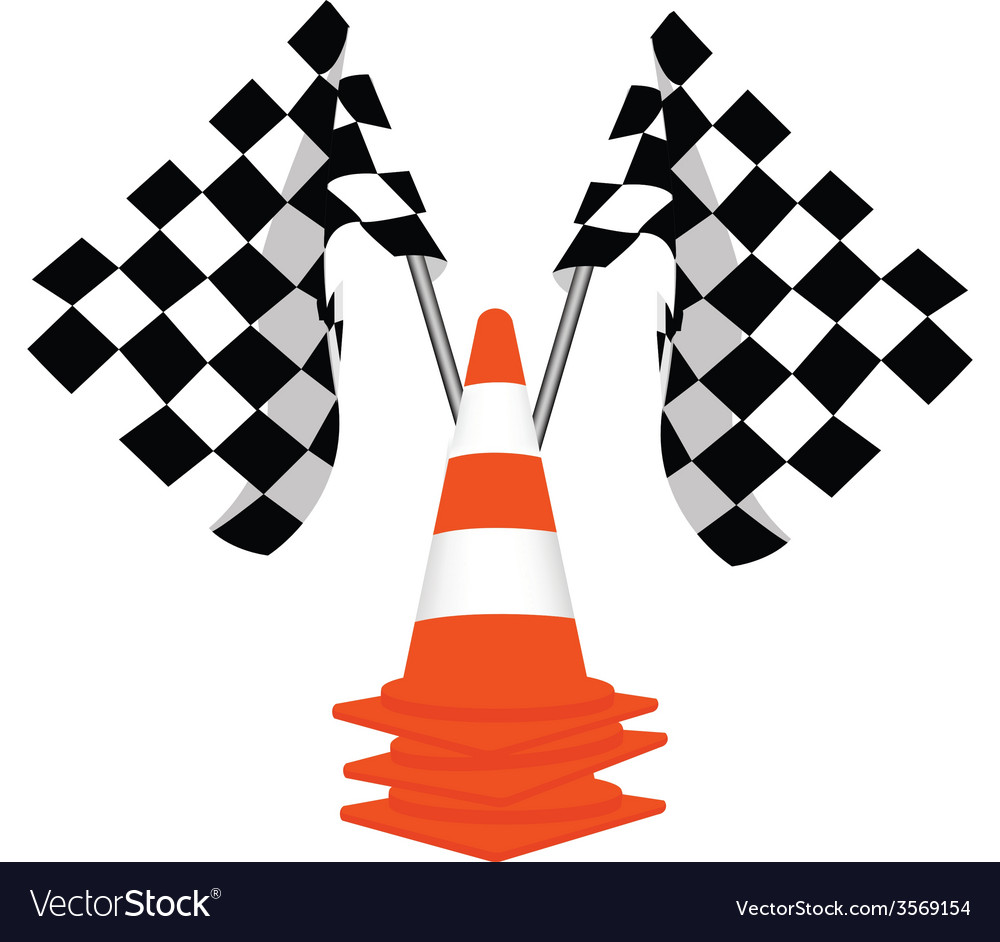 Racing flags and traffiic cones vector | Price: 1 Credit (USD $1)