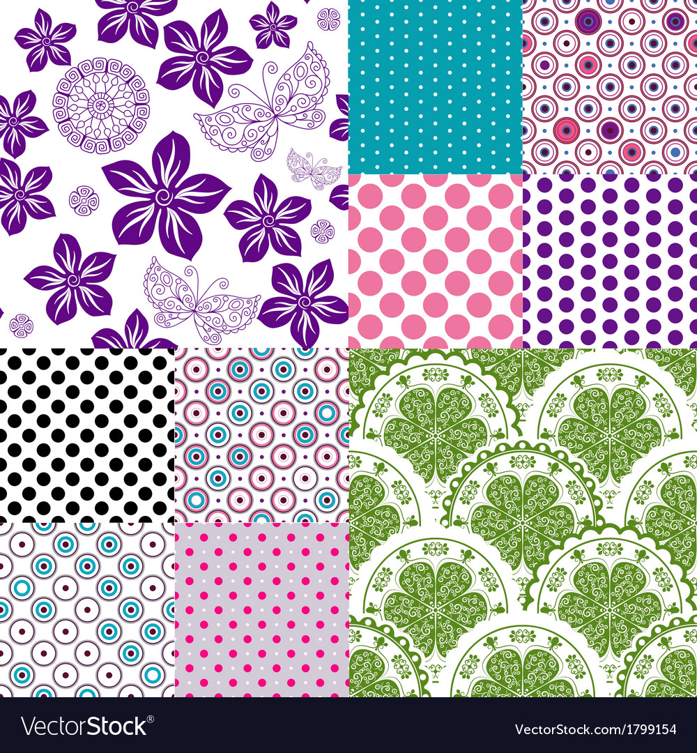 Set vintage colorful patterns vector   Price: 1 Credit (USD $1)