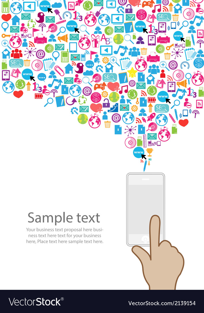 Template design phone idea with social network vector | Price: 1 Credit (USD $1)