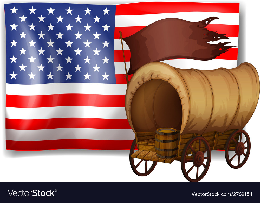 The usa flag at the back of a wagon vector | Price: 1 Credit (USD $1)
