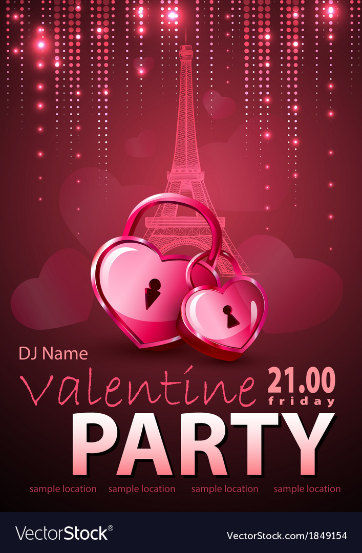 Valentine disco poster vector | Price: 1 Credit (USD $1)