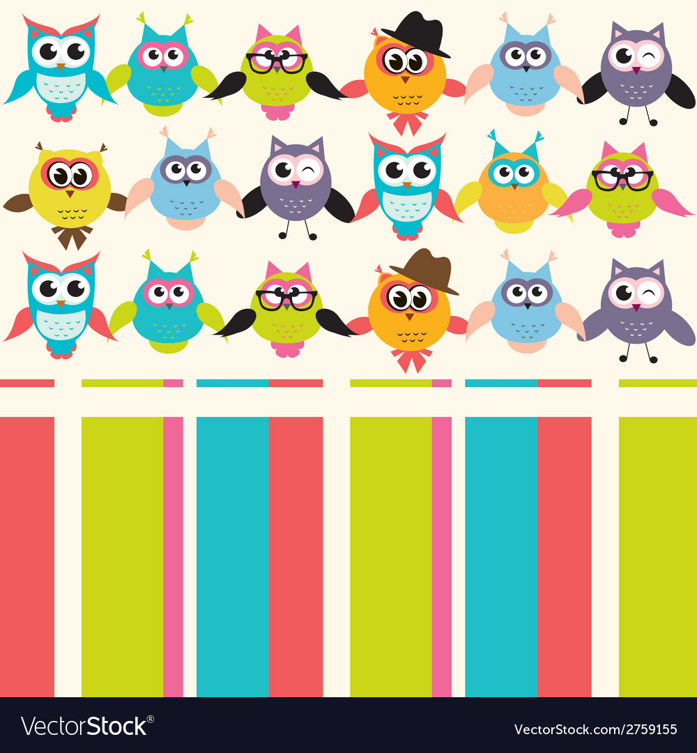 Background with owls vector | Price: 1 Credit (USD $1)