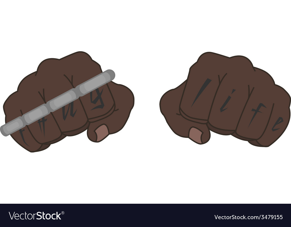 Black man fists with tattoo holding brass knuckles vector | Price: 1 Credit (USD $1)