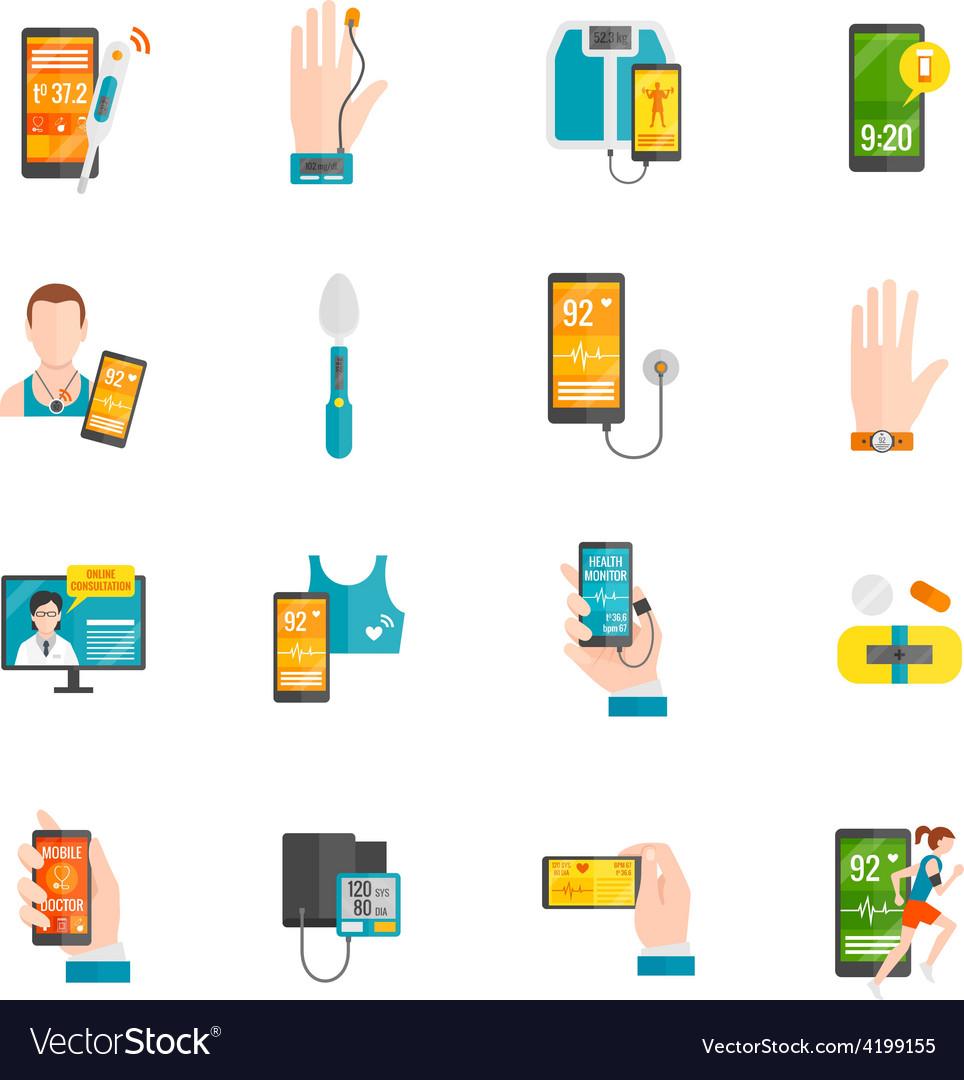 Digital health flat icons vector | Price: 1 Credit (USD $1)