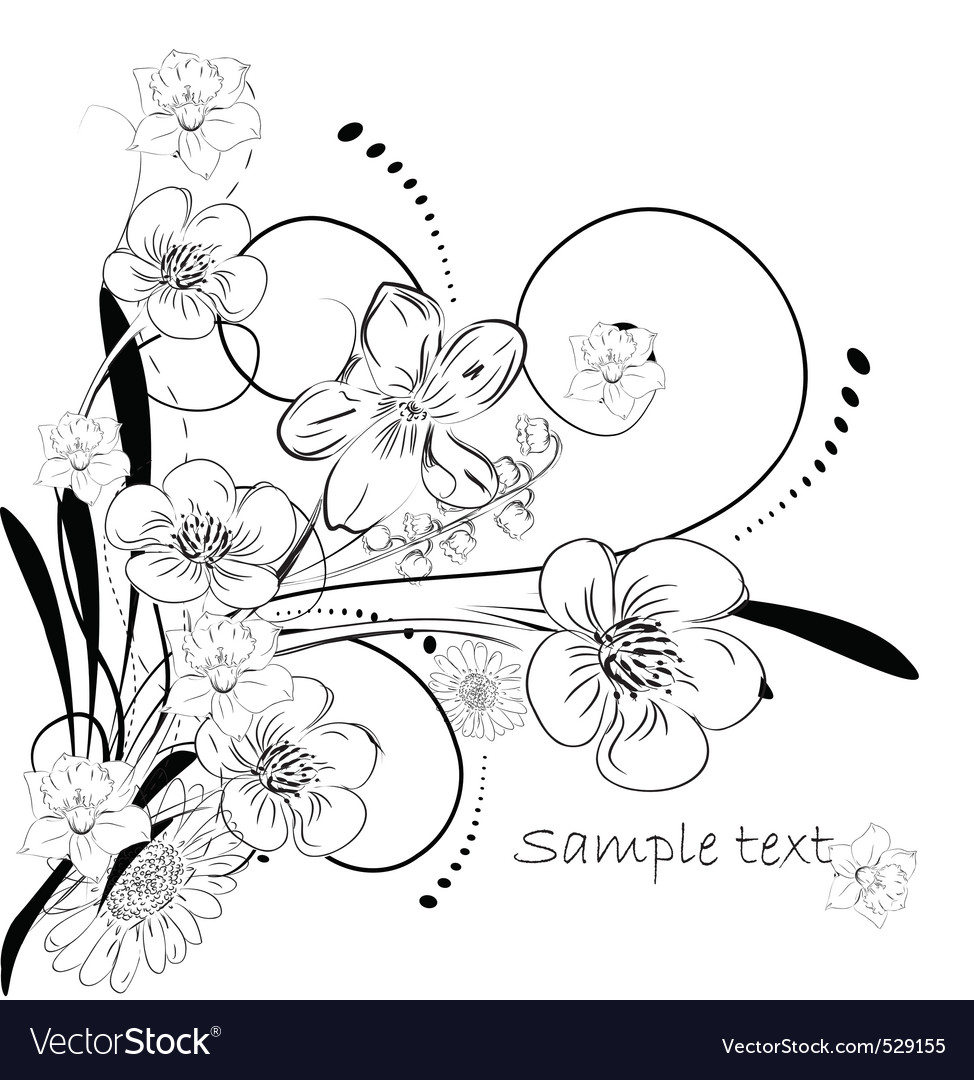 Floral ink vector | Price: 1 Credit (USD $1)