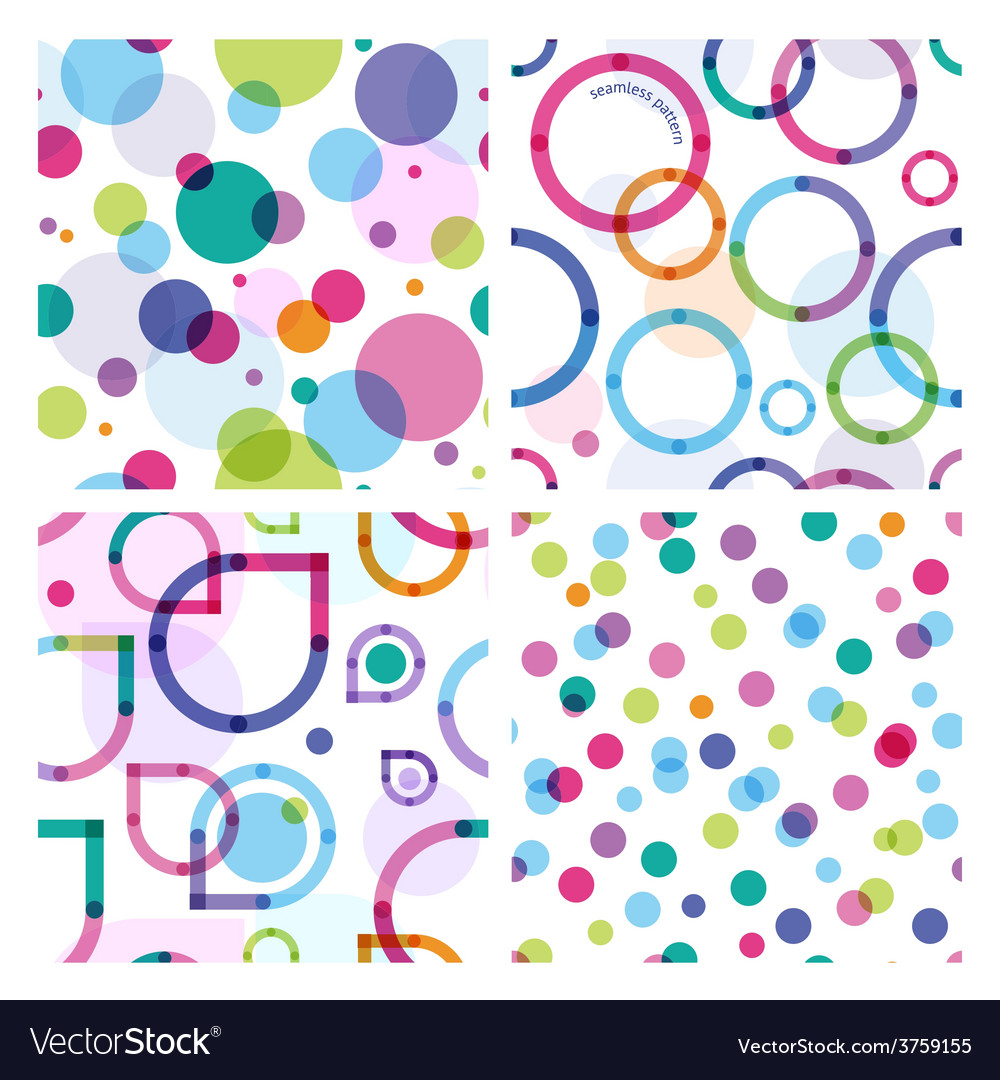 Four bright seamless patterns vector   Price: 1 Credit (USD $1)