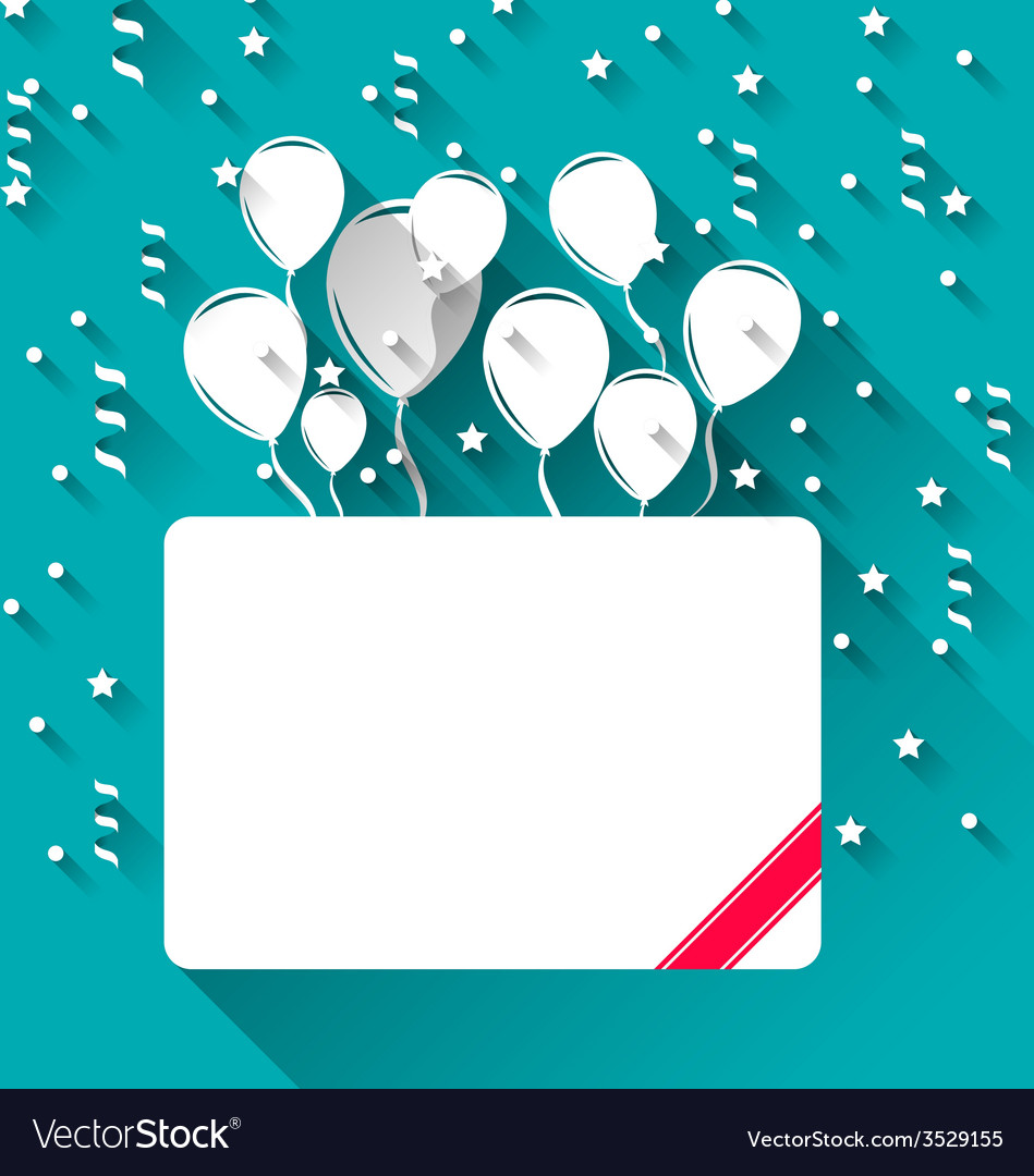 Greeting card with balloons for happy birthday vector | Price: 1 Credit (USD $1)