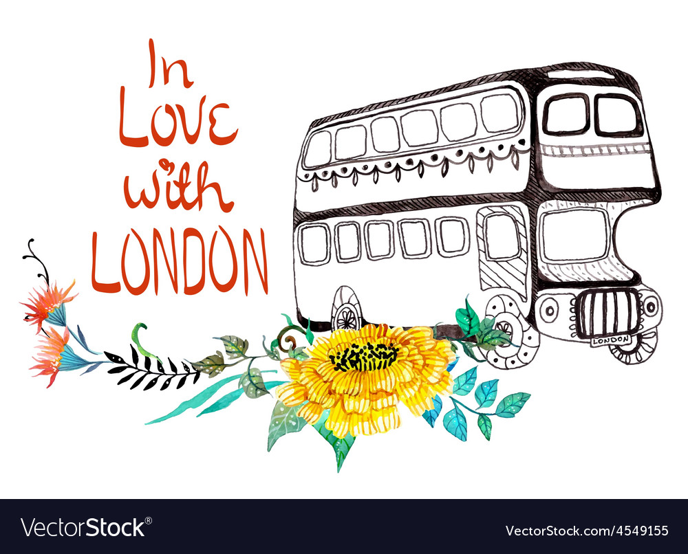 London bus with watercolor flowers vector