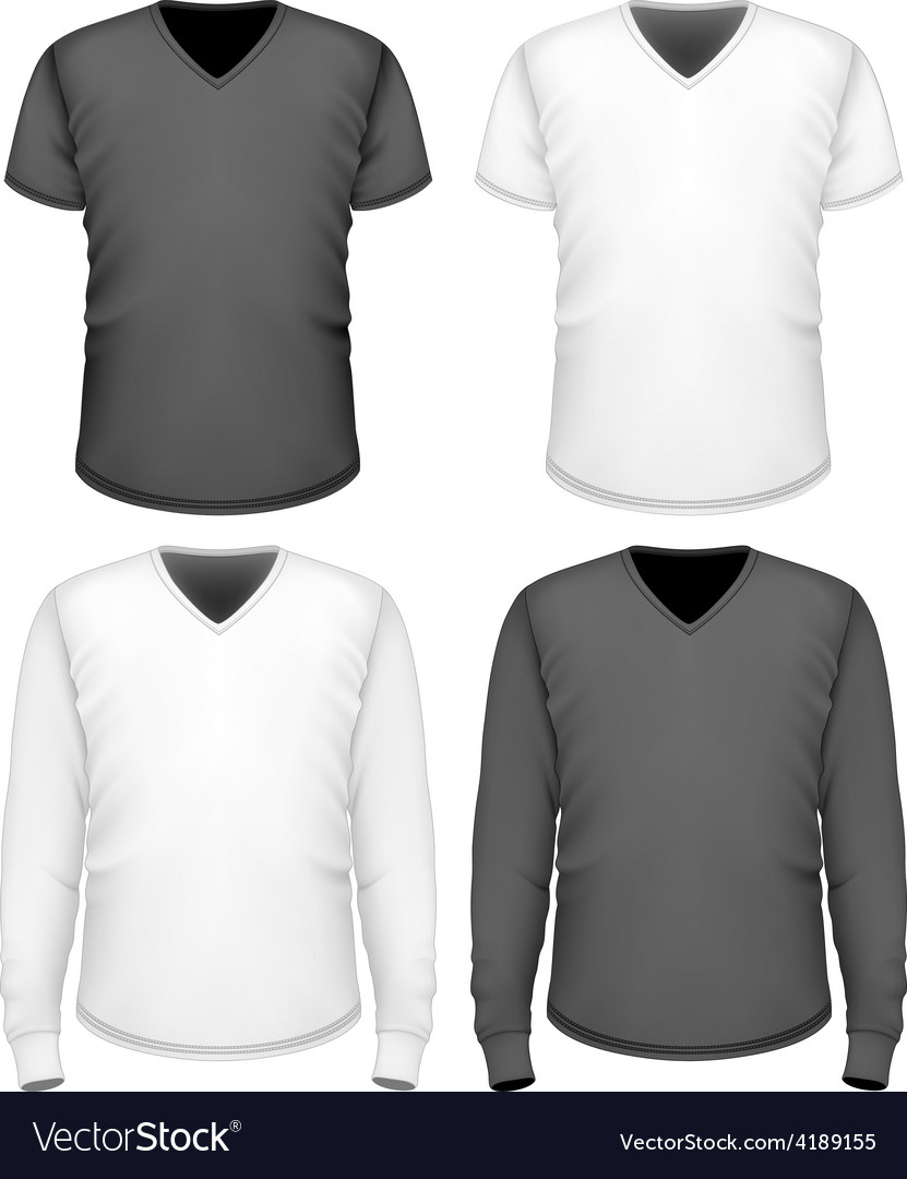 Men t-shirt v-neck short and long sleeve vector | Price: 1 Credit (USD $1)
