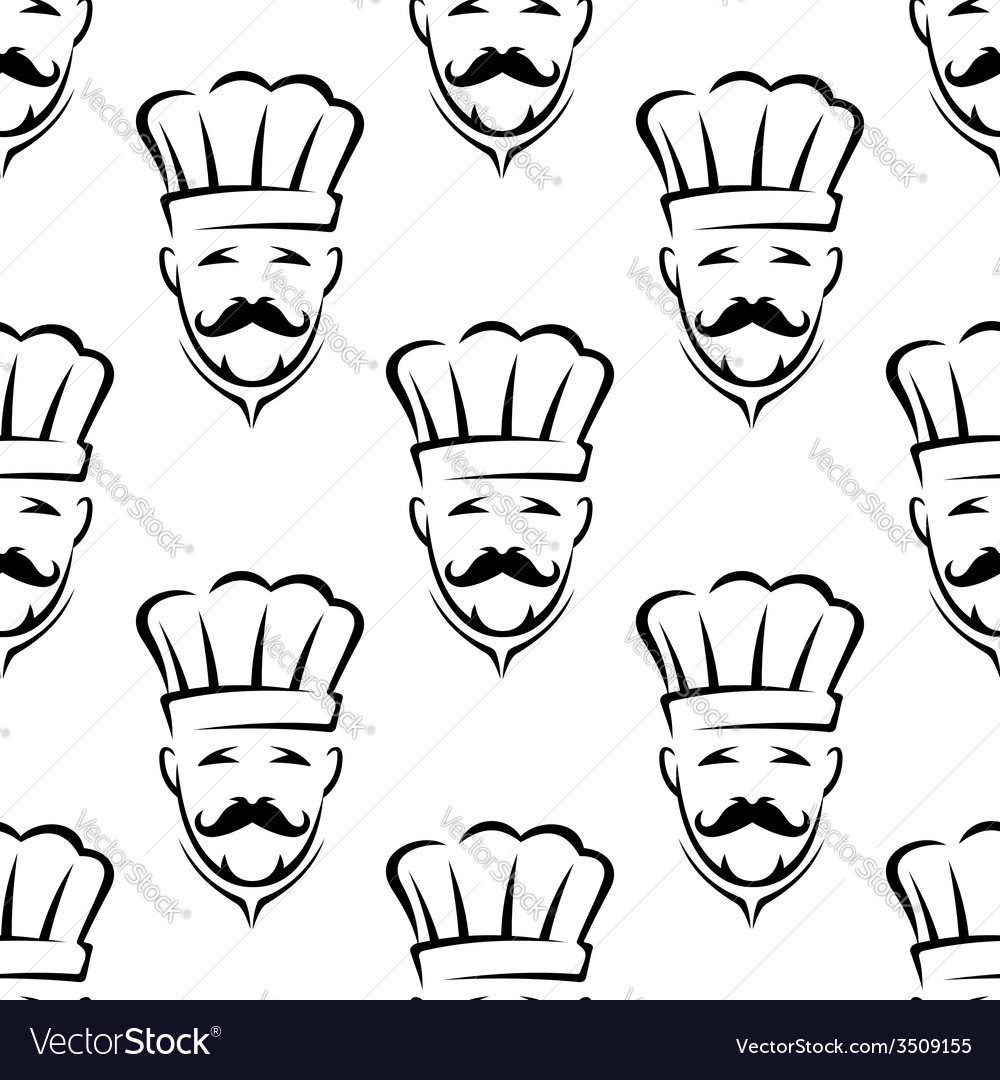 Mustached chef seamless pattern vector | Price: 1 Credit (USD $1)