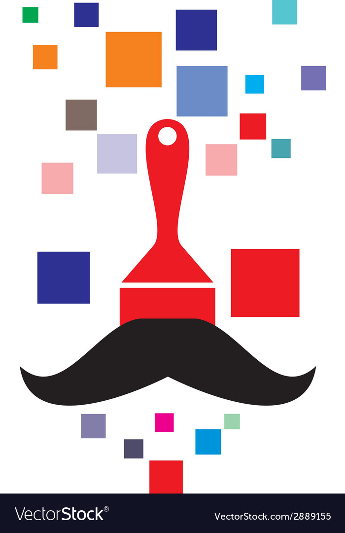Pixel paint brush with mustache vector | Price: 1 Credit (USD $1)