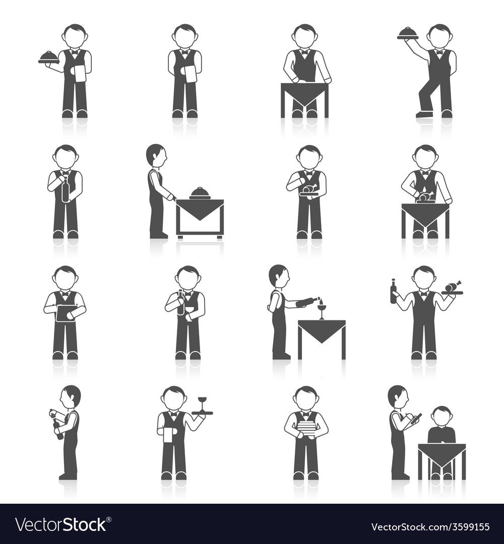 Waiter man icon black vector | Price: 1 Credit (USD $1)