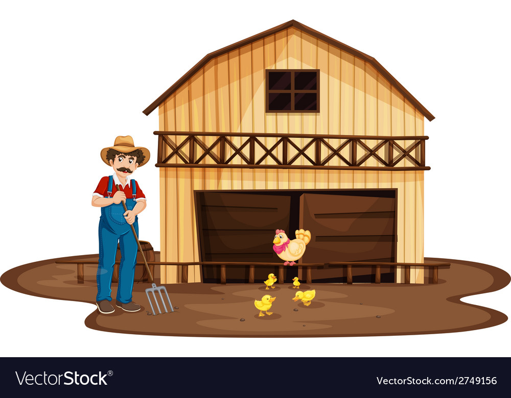 A man standing in front of the wooden barnhouse vector | Price: 1 Credit (USD $1)