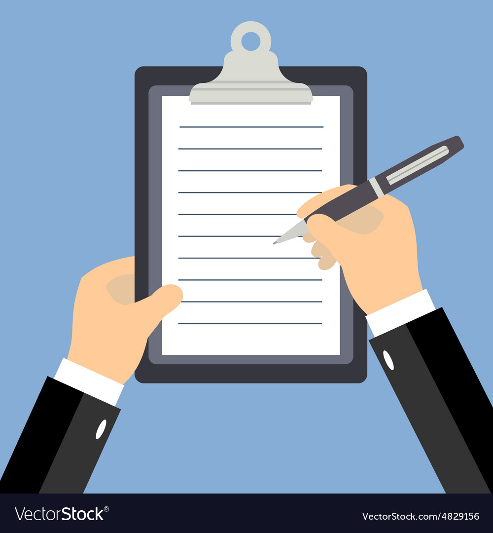 Business man hands signing business contract flat vector