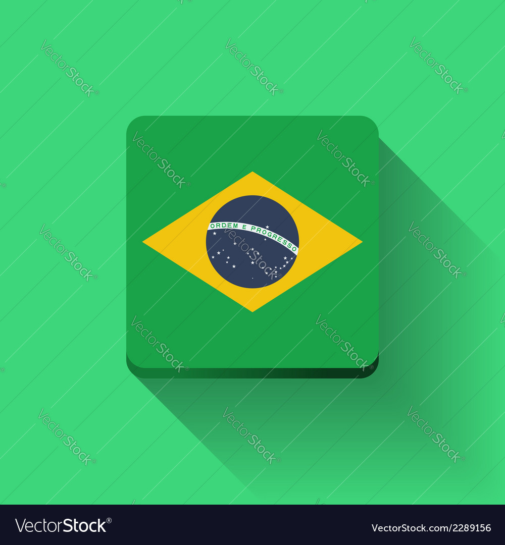 Button with flag of brazil vector | Price: 1 Credit (USD $1)