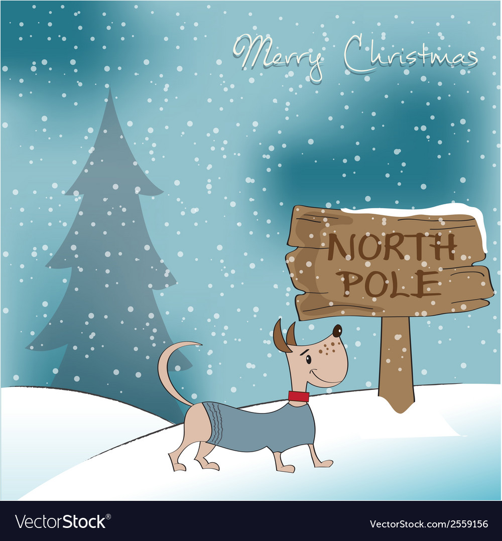Christmas card with happy dressed dog vector | Price: 1 Credit (USD $1)