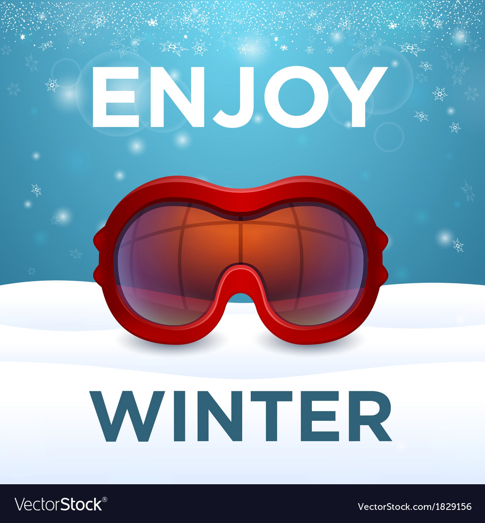 Enjoy winter outside red ski goggles vector | Price: 1 Credit (USD $1)