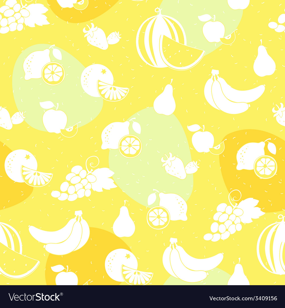 Fruit white silhouette seamless pattern vector | Price: 1 Credit (USD $1)