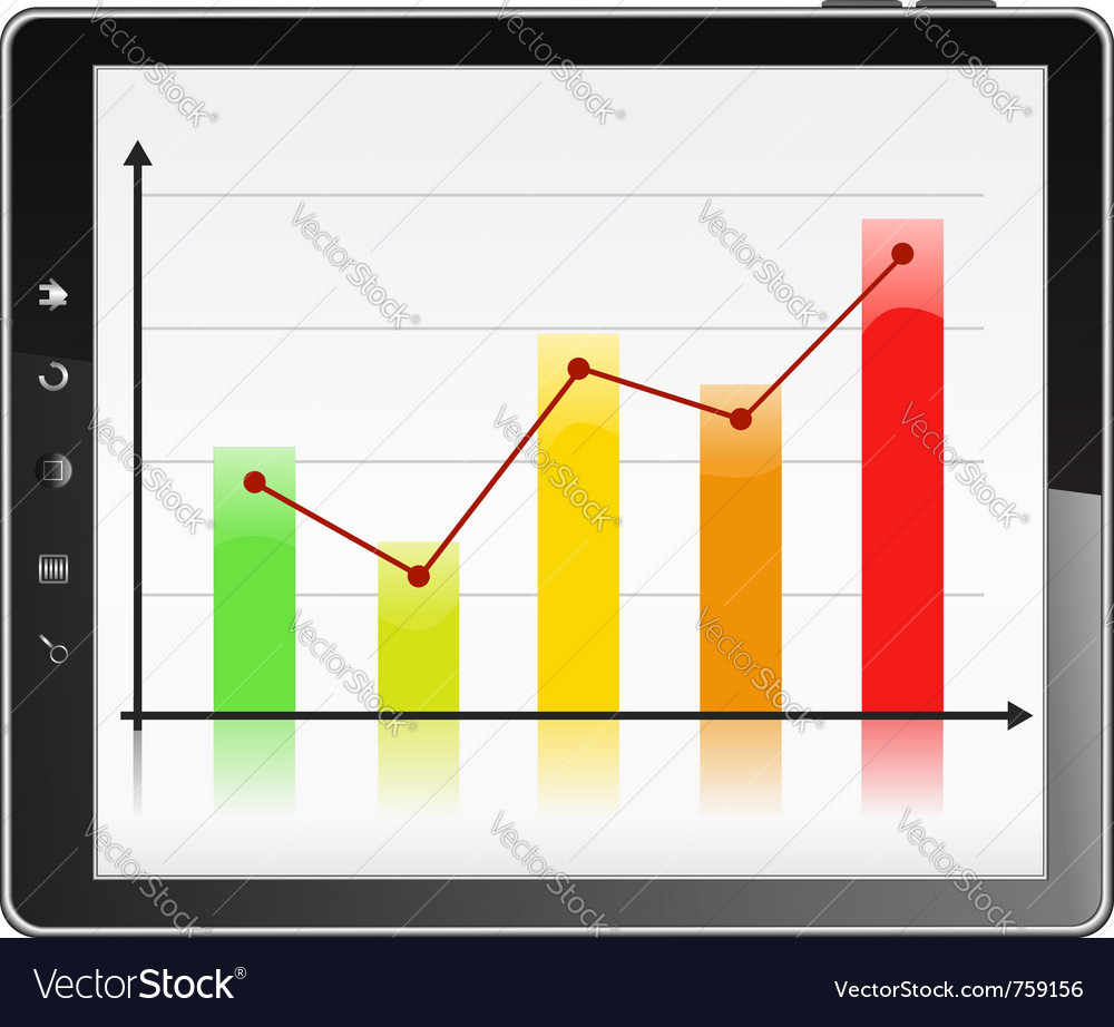 Graph in tablet pc vector | Price: 1 Credit (USD $1)