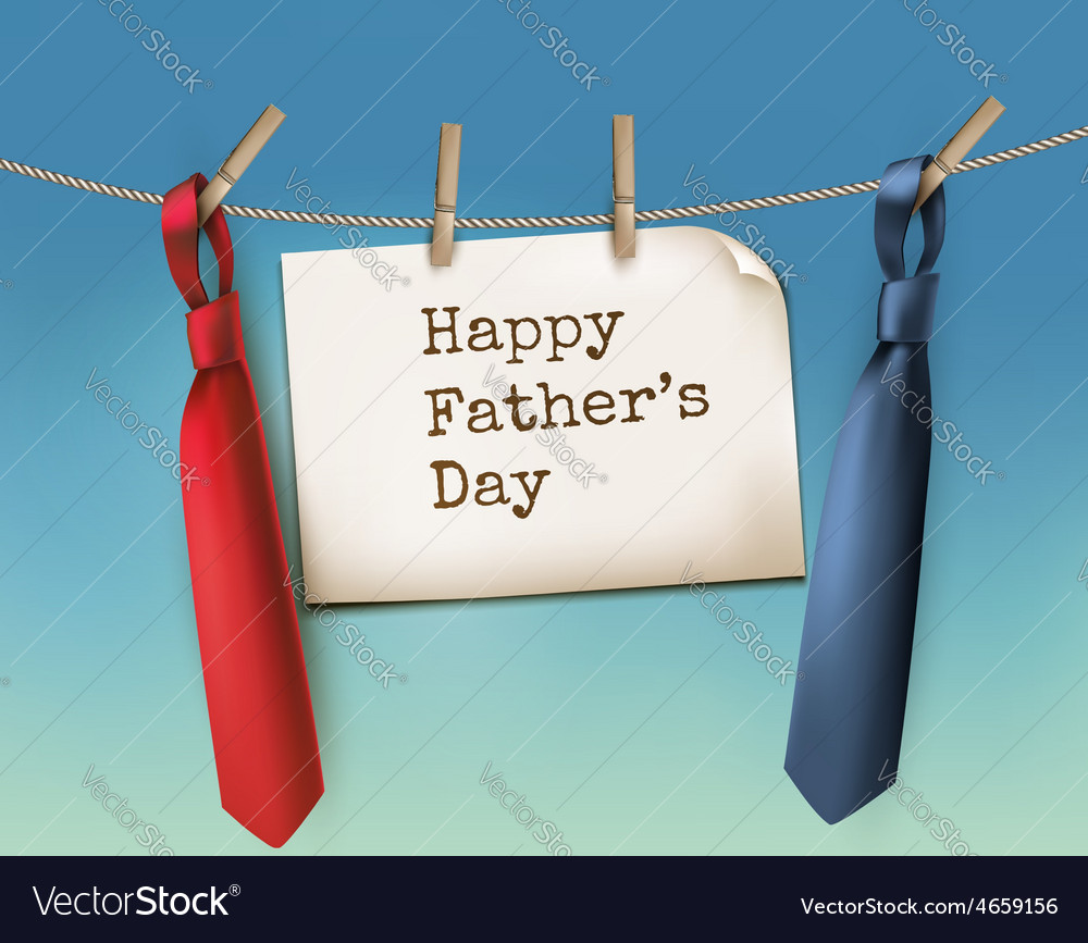 Happy fathers day background with a two ties vector | Price: 3 Credit (USD $3)