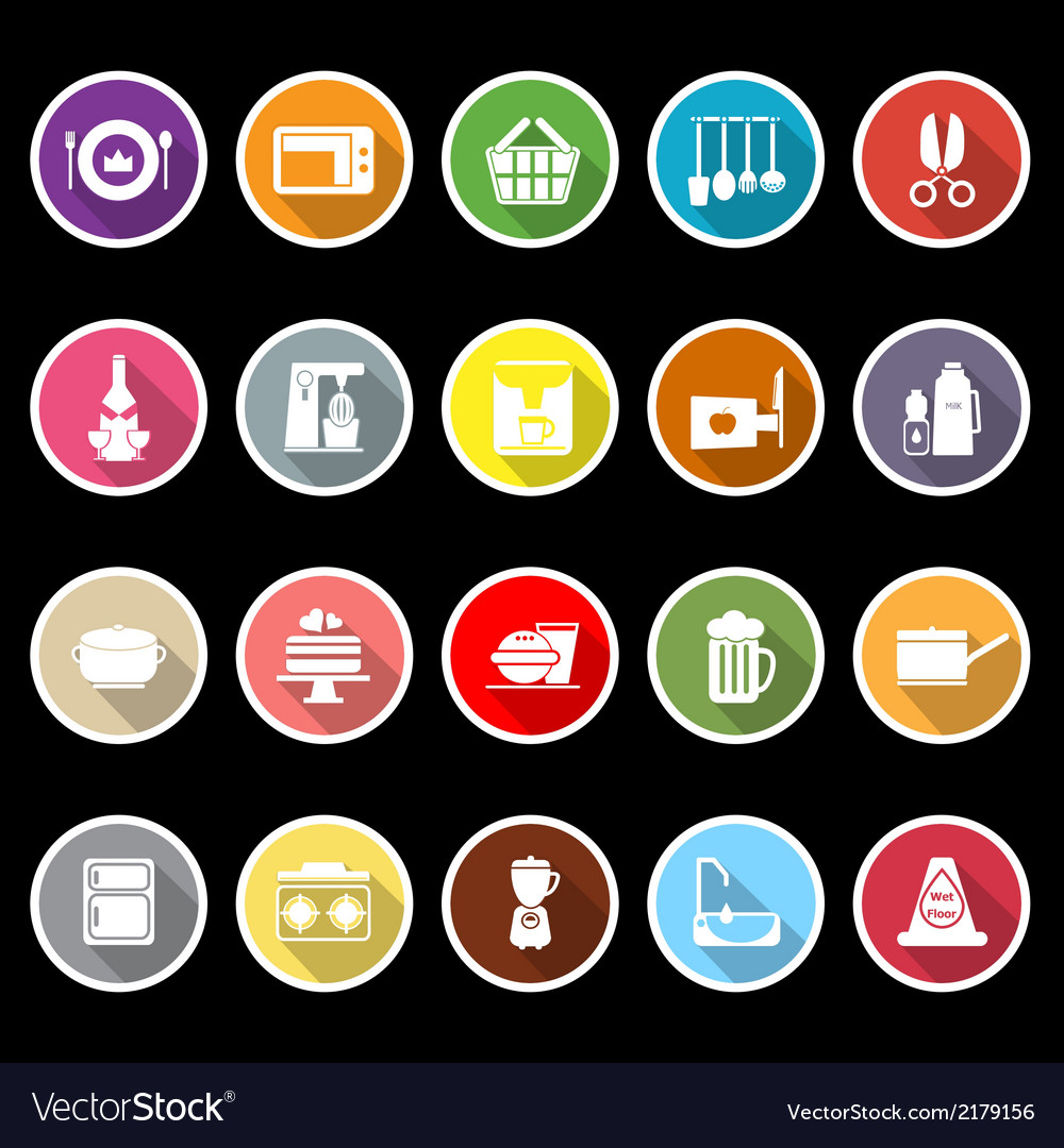 Home kitchen icons with long shadow vector | Price: 1 Credit (USD $1)