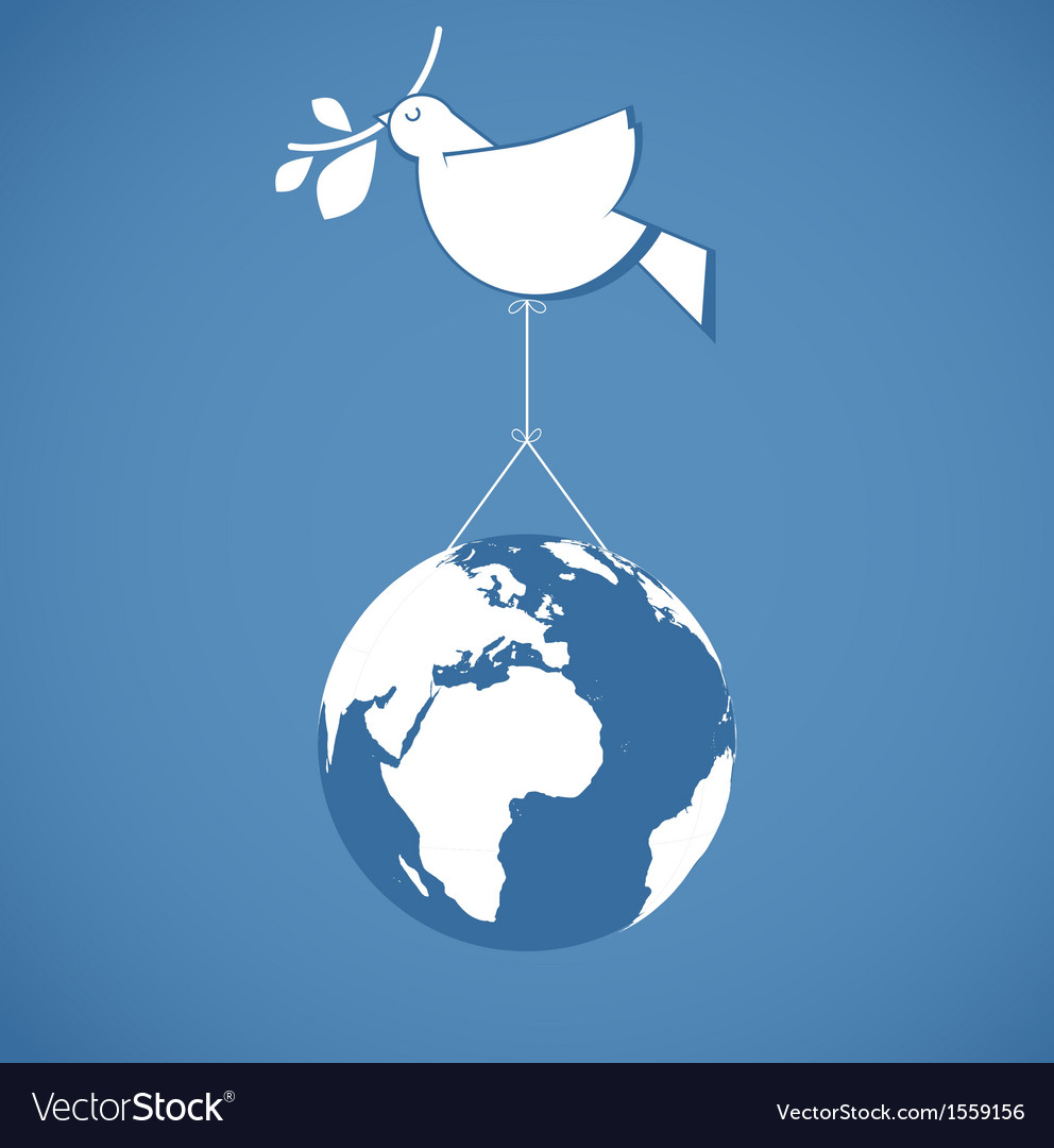 I like peace peace dove holding a globe vector | Price: 1 Credit (USD $1)