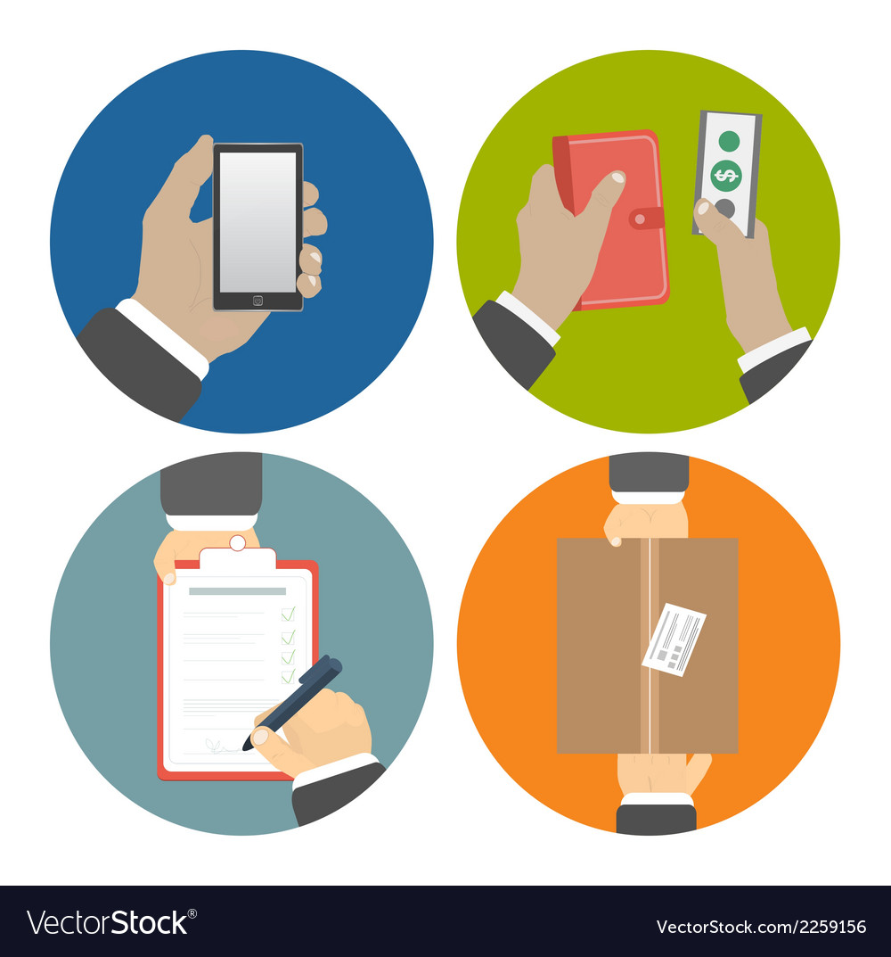 Set of hands clients purchasing vector | Price: 1 Credit (USD $1)