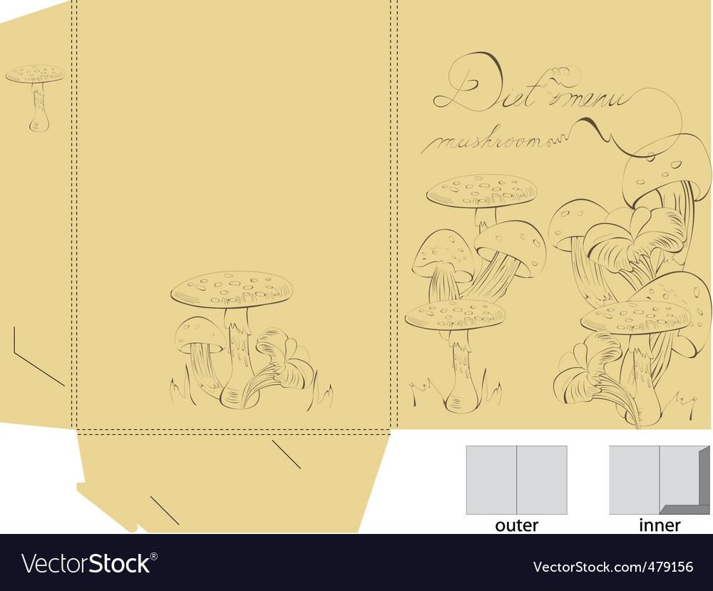 Template for folder with mushrooms vector | Price: 1 Credit (USD $1)