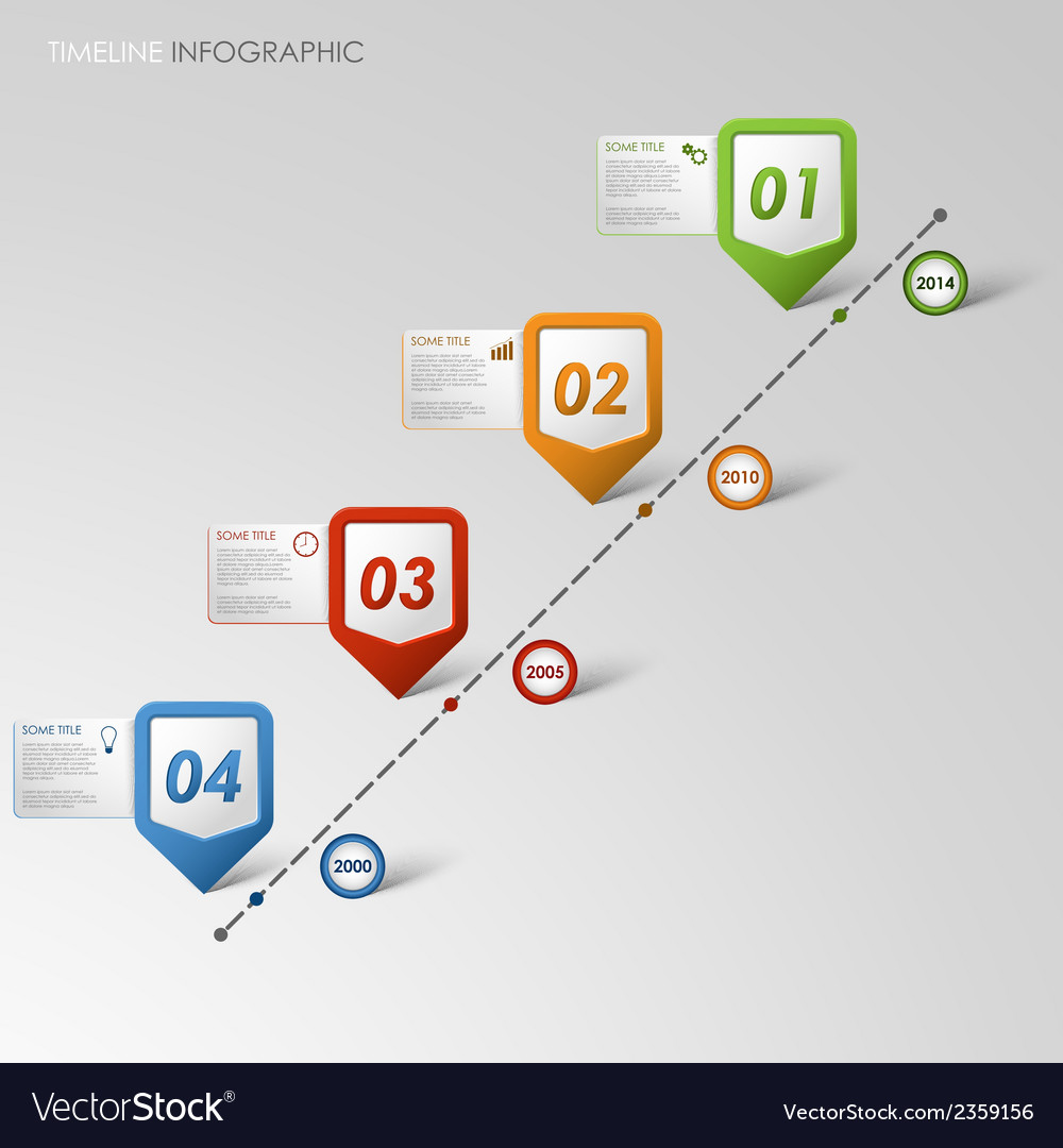 Time line info graphic colored pointer template vector | Price: 1 Credit (USD $1)