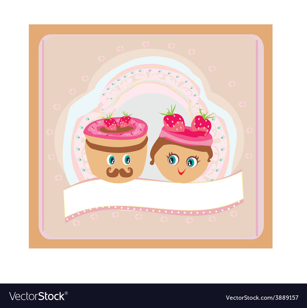 A cute pair of cookies vector