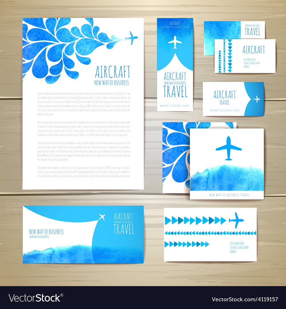 Airplane watercolor artistic document template vector | Price: 1 Credit (USD $1)