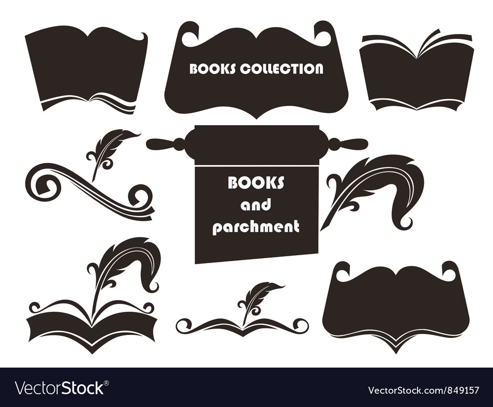 Books silhouettes collection vector | Price: 1 Credit (USD $1)