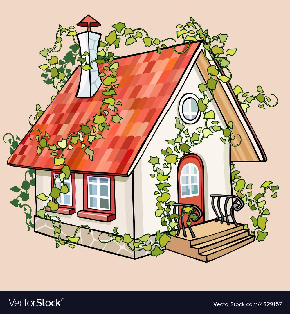 Cartoon fairy house overgrown with ivy vector