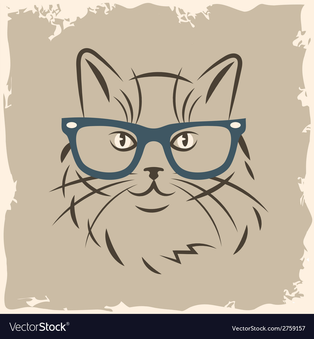 Cat in glasses vector | Price: 1 Credit (USD $1)
