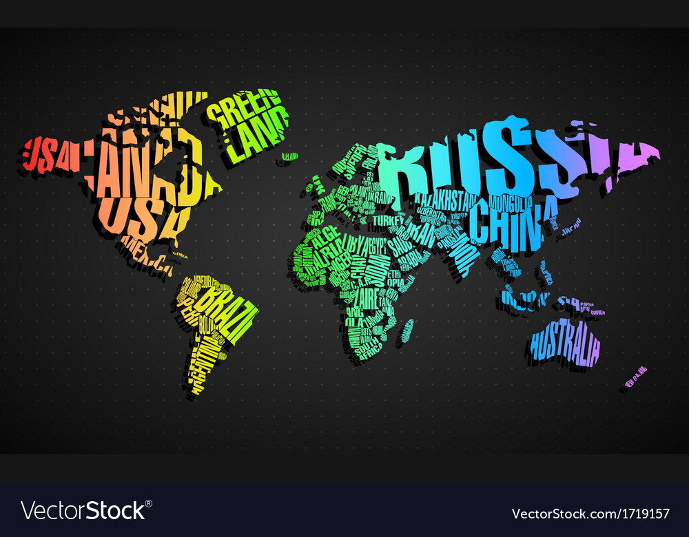 Colorful world map in typography vector | Price: 1 Credit (USD $1)