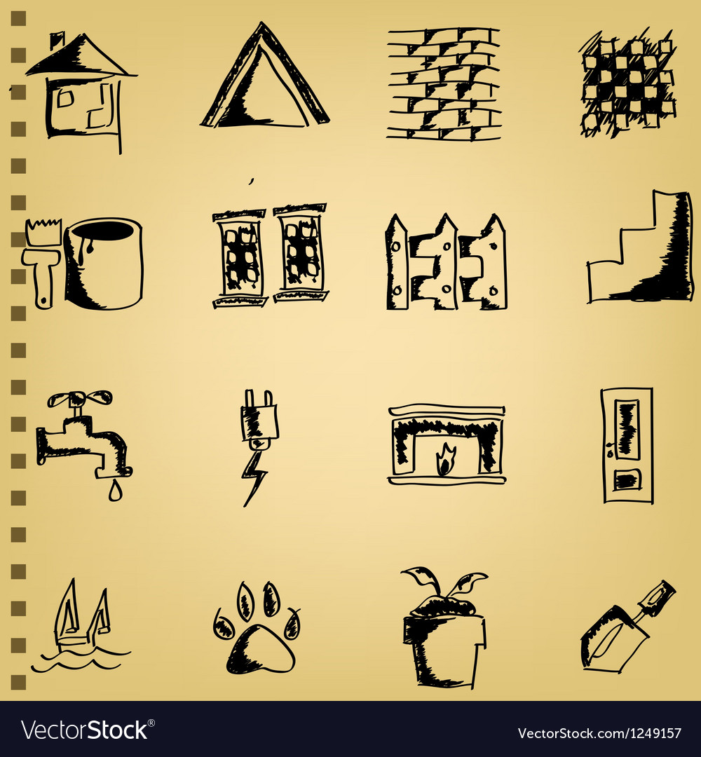 Doodle house icon set vector | Price: 1 Credit (USD $1)