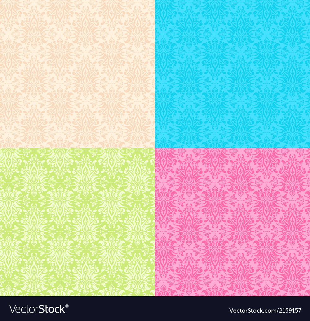 Floral multicolor seamless patterns vector | Price: 1 Credit (USD $1)