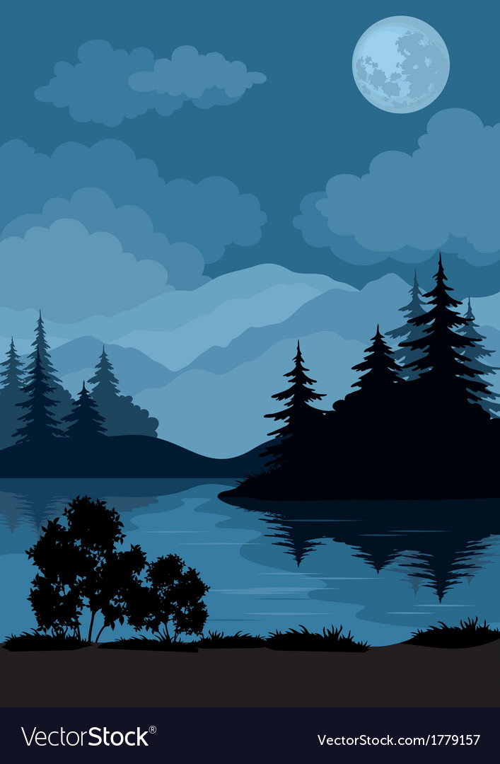 Landscape trees moon and mountains vector | Price: 1 Credit (USD $1)
