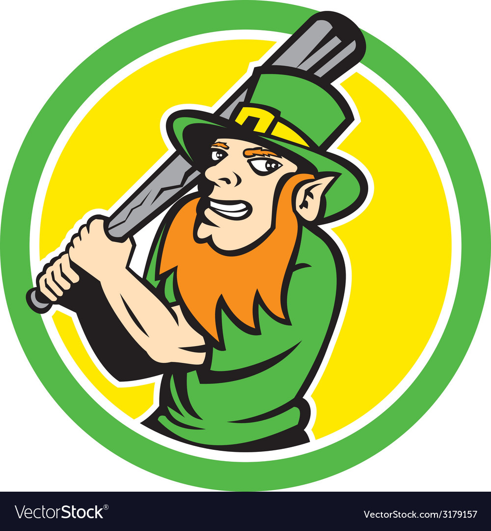 Leprechaun baseball hitter batting circle retro vector | Price: 1 Credit (USD $1)