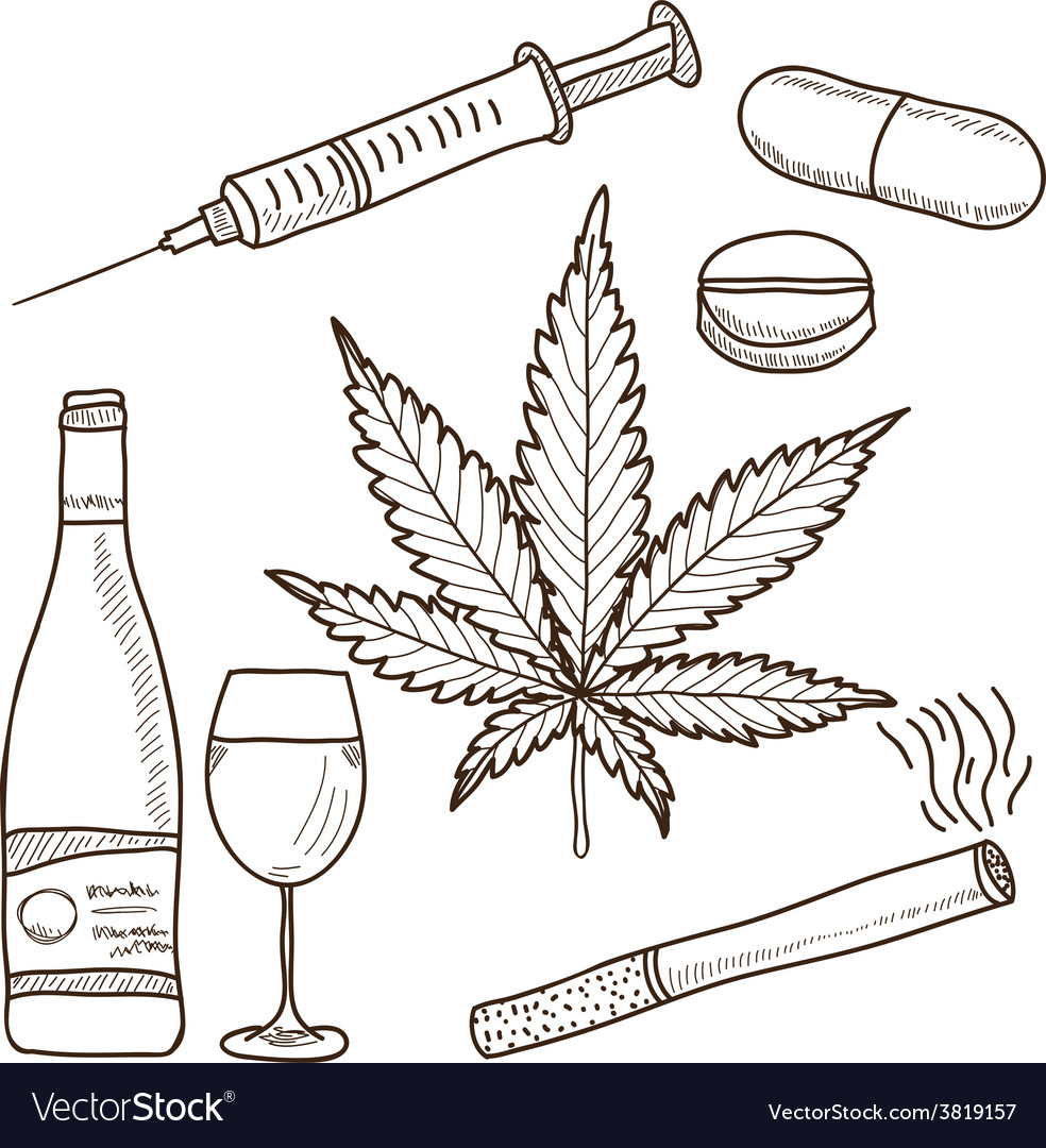 Narcotics - marijuana alcohol vector | Price: 1 Credit (USD $1)