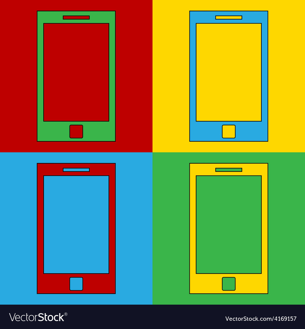 Pop art phone icons vector   Price: 1 Credit (USD $1)