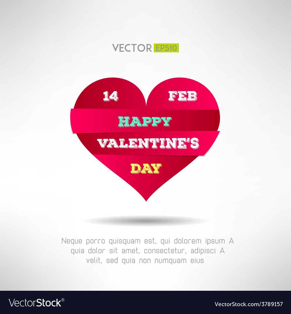 Red heart cut icon with valentines text and date vector | Price: 1 Credit (USD $1)