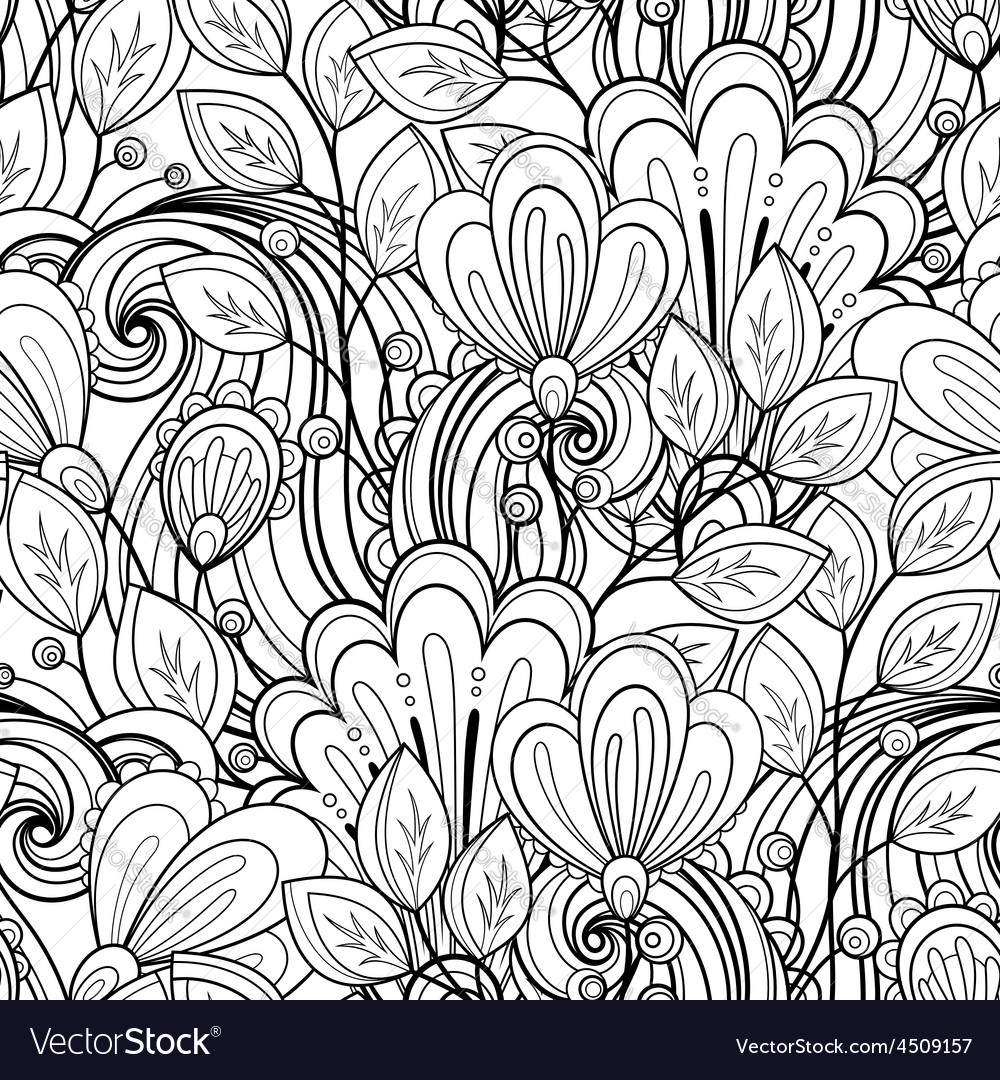 Seamless monochrome floral pattern vector   Price: 1 Credit (USD $1)