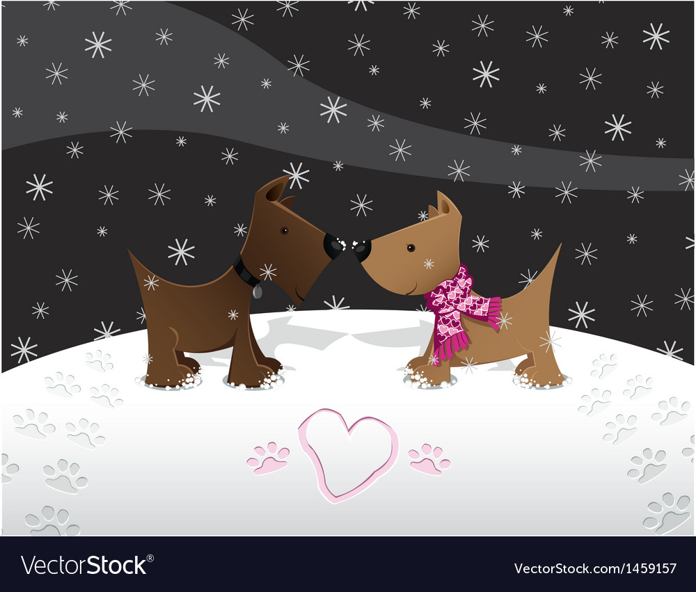 Snow puppy love vector | Price: 1 Credit (USD $1)
