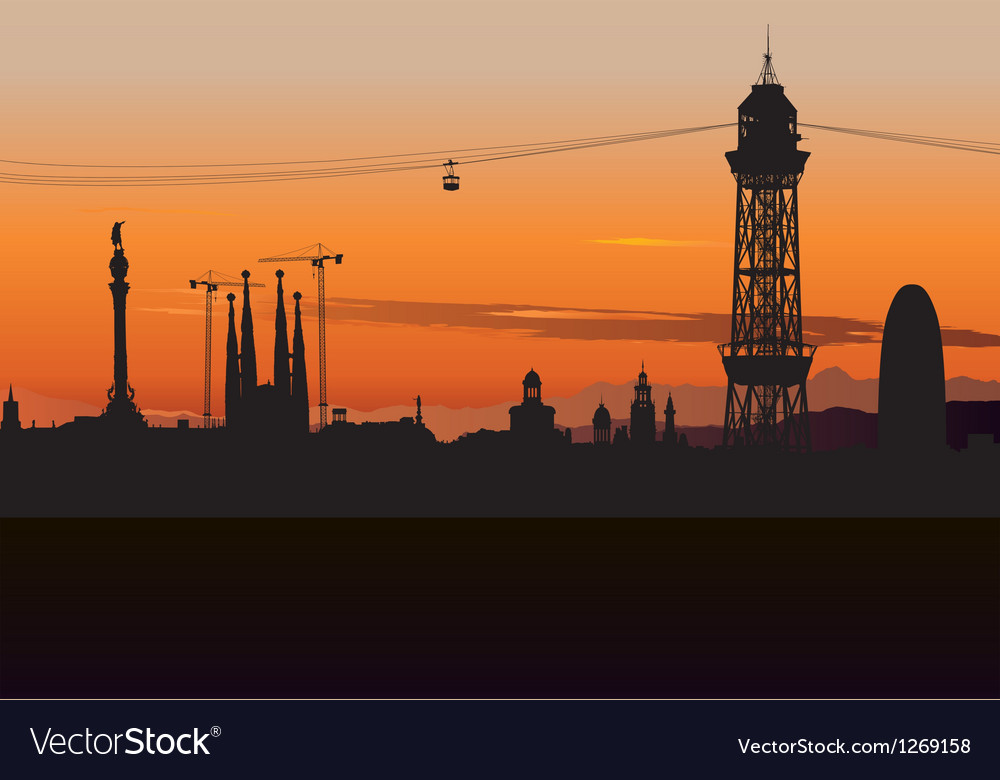 Barcelona cable car tower vector | Price: 1 Credit (USD $1)
